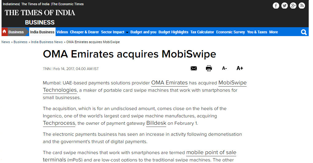 MobiSwipe mPOS | Mobile Payment Service | OMA Emirates Group